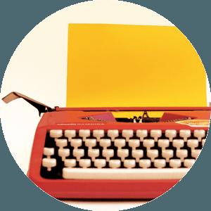 Máquina de escrever vermelha
