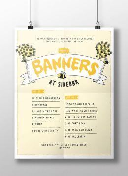 Pôster para a festa BANNERS, promovida pelo coletivo novaiorquino The Wild Honey Pie no SXSW 2015 (Austin, TX).