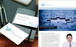 Identidade visual, papelaria e web design para o site profissional do Dr. José Leandro, médico neuropediatra.