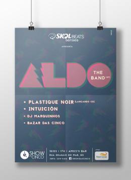 Pôster ilustrado, assessoria de imprensa e produção de show do Aldo The Band (SP) em Fortaleza, dentro do projeto Show das Cinco.